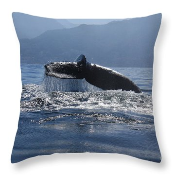 Whale Fluke Throw Pillow by Nicola Fiscarelli