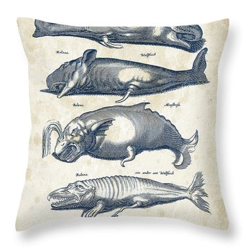 Whale Historiae Naturalis 08 - 1657 - 41 Throw Pillow by Aged Pixel