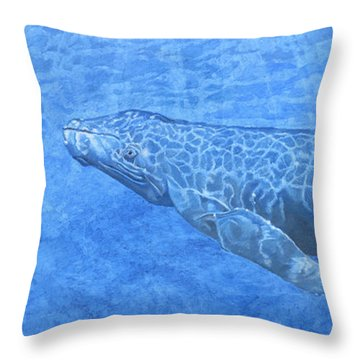 Whale In Surface Light Throw Pillow