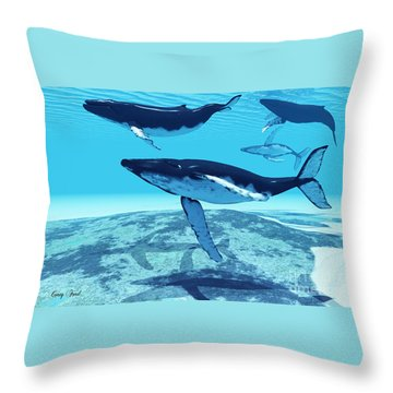 Whale Pod Throw Pillow by Corey Ford