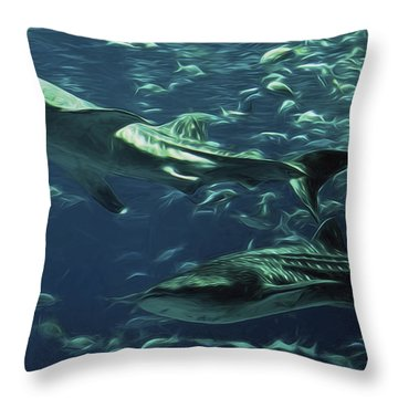 Whale Shark Couple Throw Pillow