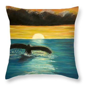 Whale Tail At Sunset  Throw Pillow