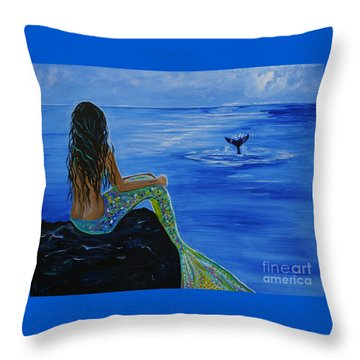 Whale Watcher Throw Pillow by Leslie Allen