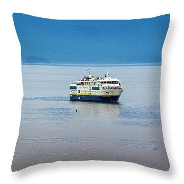 Whale Watching In Glacier Bay Throw Pillow