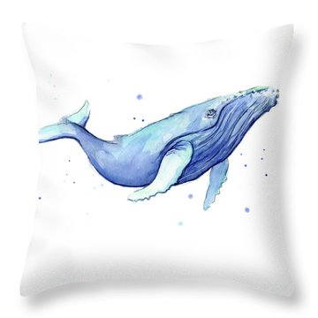 Whale Watercolor Humpback Throw Pillow