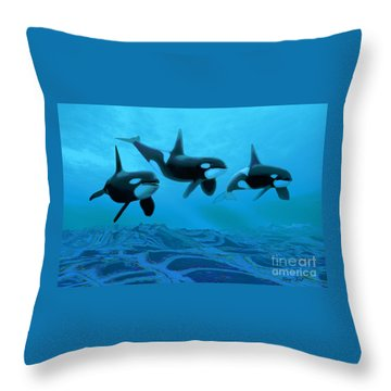 Whale World Throw Pillow by Corey Ford