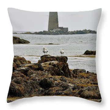 Whaleback Lighhouse From Fort Constitution Throw Pillow by Rick Frost