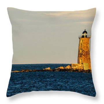 Whaleback Lighthouse At Sunset Throw Pillow