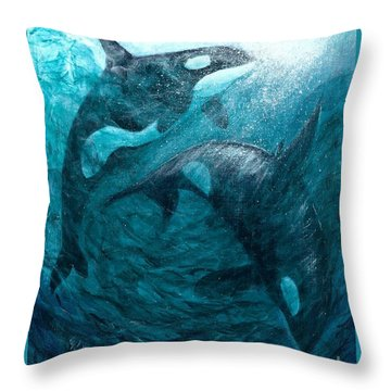 Whales  Ascending  Descending Throw Pillow
