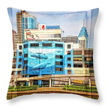 Whales In The City Throw Pillow