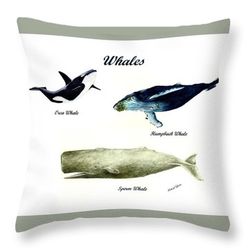 Whales Throw Pillow by Michael Vigliotti