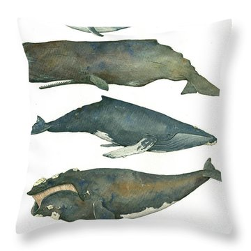 Whales Poster Throw Pillow