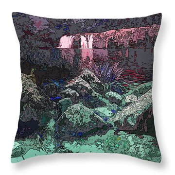 Wharepuke Falls By Moonlight Throw Pillow