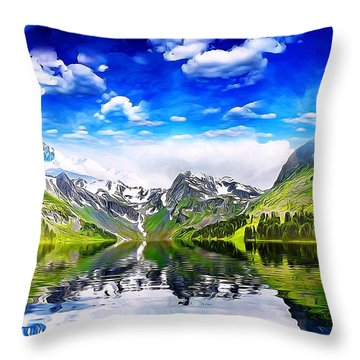 Throw Pillow featuring the mixed media What A Beautiful Day by Gabriella Weninger - David