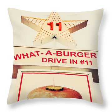 What A Burger Throw Pillow by Kim Fearheiley