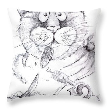 Throw Pillow featuring the drawing What Bird  by Mary-Lee Sanders