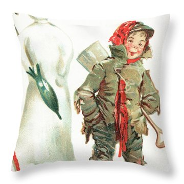 What Cheer For Christmas  Victorian Christmas Card Throw Pillow
