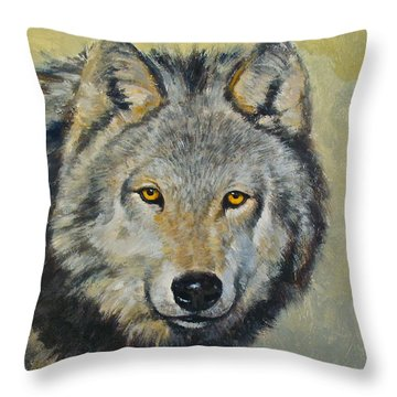 Throw Pillow featuring the painting Heres Lookn At You..kid....kid....kid by Cliff Spohn