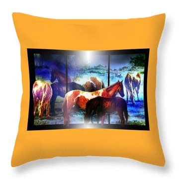 What  Horses Dream Throw Pillow by Hartmut Jager