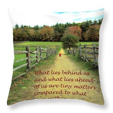 What Lies Ahead Throw Pillow by Deborah Dendler