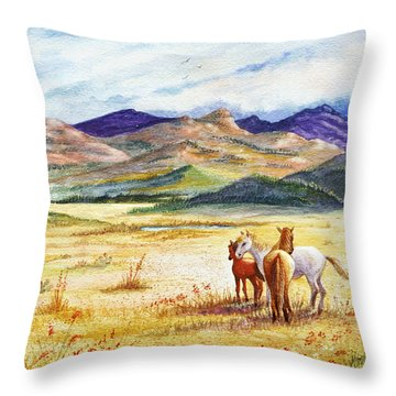 Throw Pillow featuring the painting What Lies Beyond by Marilyn Smith