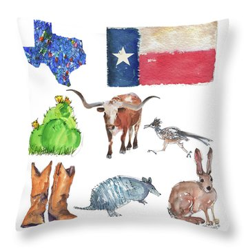 What Texas Loves, Texas Longhorn Watercolor Painting By Kmcelwaine Throw Pillow