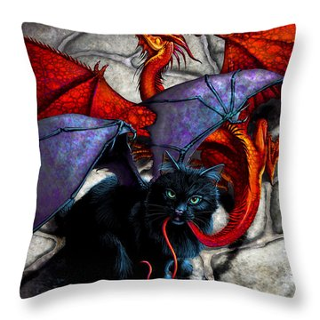 What The Catabat Dragged In Throw Pillow