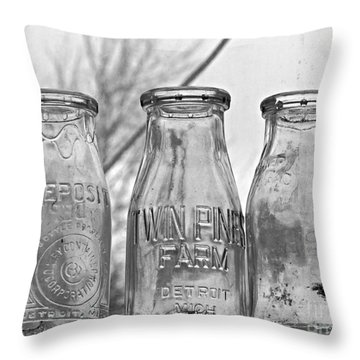 What The Milk Man Left, Bw Throw Pillow by Sandra Church