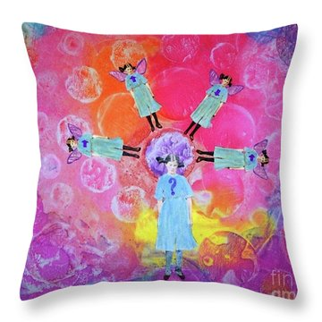 Throw Pillow featuring the mixed media What To Do by Desiree Paquette