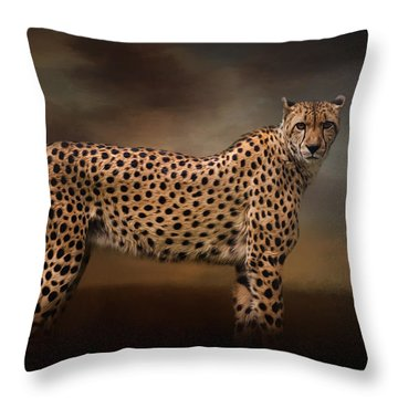 What You Imagine - Cheetah Art Throw Pillow by Jordan Blackstone