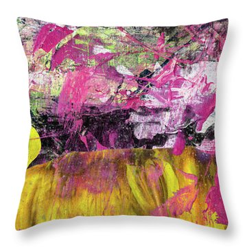Whatever Makes You Happy - Large Pink And Yellow Abstract Painting Throw Pillow