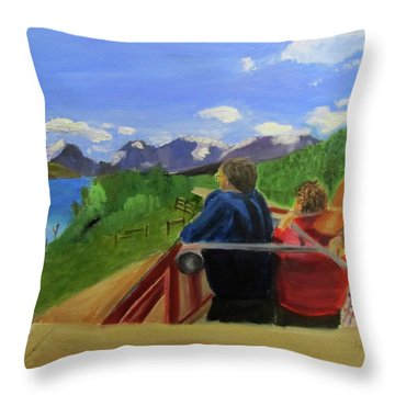 Throw Pillow featuring the painting What's Out There? by Linda Feinberg