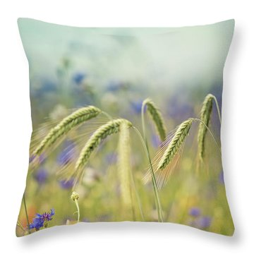 Wheat And Corn Flowers Throw Pillow