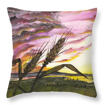 Wheat Field Throw Pillow by Darren Cannell