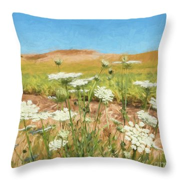Wheat Field Wildflowers Throw Pillow
