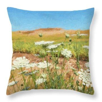 Wheat Field Wildflowers Throw Pillow