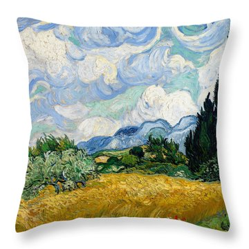 Wheat Field With Cypresses Throw Pillow