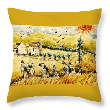 Wheat Field With Workers Throw Pillow by Hae Kim