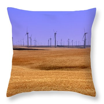 Wheat Fields And Wind Turbines Throw Pillow by Carol Groenen