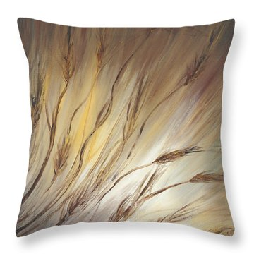 Wheat In The Wind Throw Pillow by Nadine Rippelmeyer