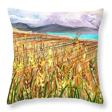 Wheat Landscape Throw Pillow