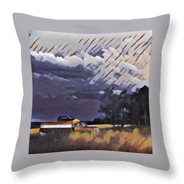 Wheat Wagon Throw Pillow
