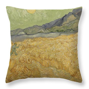 Wheatfield With Reaper Throw Pillow by Vincent Van Gogh