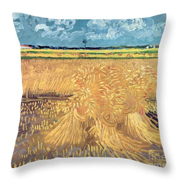 Wheatfield With Sheaves Throw Pillow