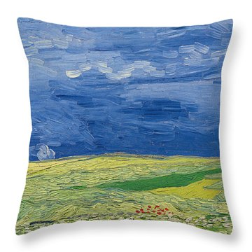 Wheatfields Under Thunderclouds Throw Pillow by Vincent Van Gogh