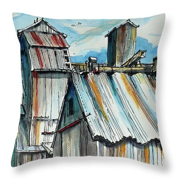Throw Pillow featuring the painting Wheatland High Rise by Terry Banderas
