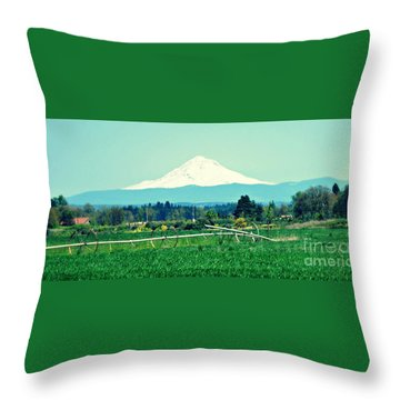 Wheel Line And Mt Hood Throw Pillow by Mindy Bench