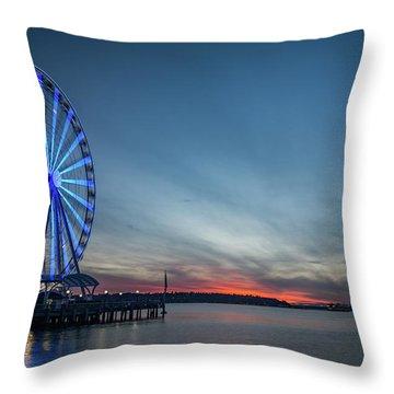 Wheel On The Pier Throw Pillow