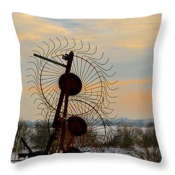 Wheel Rake Sunset Throw Pillow