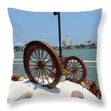 Wheels By The Water Throw Pillow